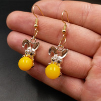New Elegant Amber Beeswax Beads Earrings Earrings Old Yellow Beeswax Beads Chicken Oil Beeswax Earrings