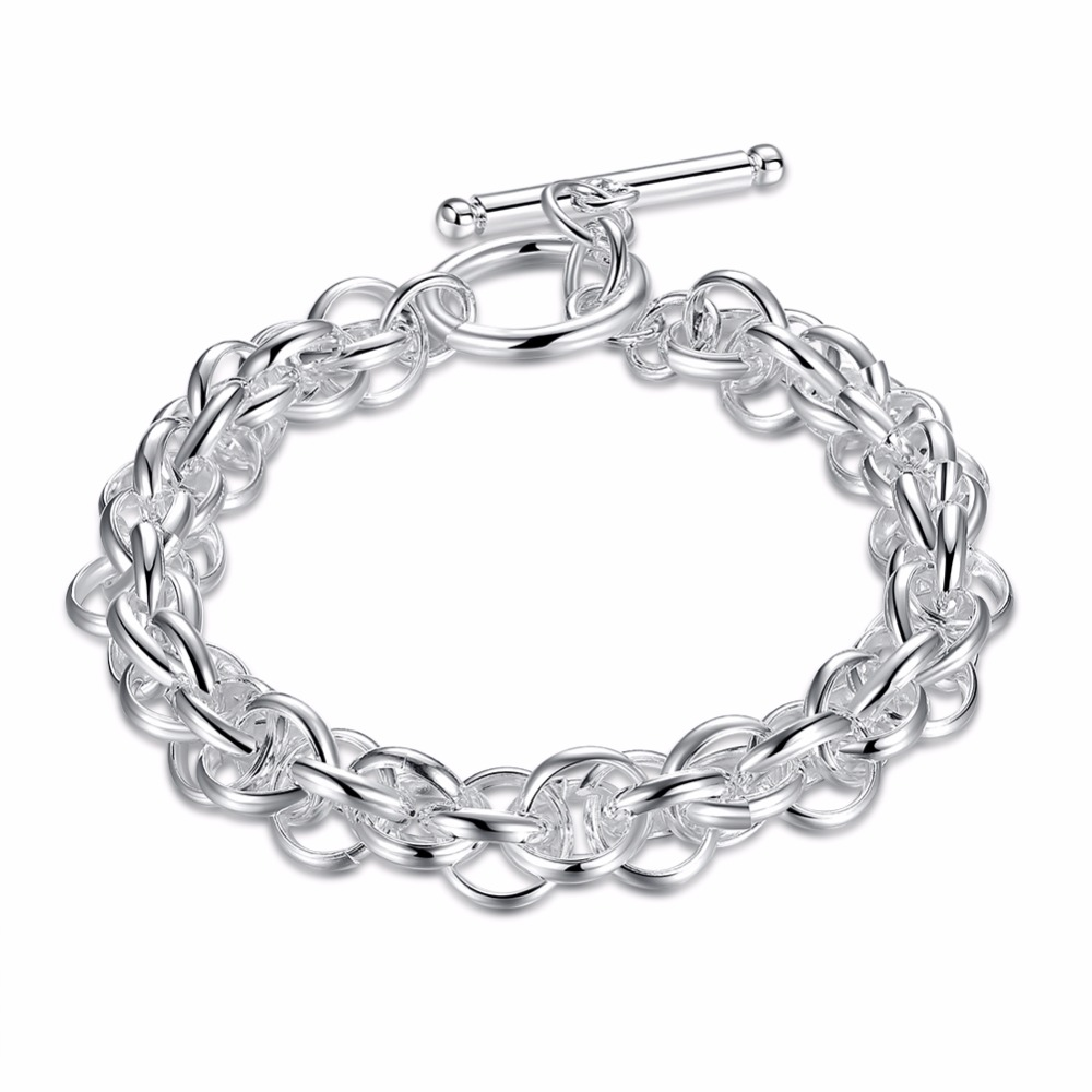 Chain & Link Bracelets Considerate Mens Jewelry 8mm 20cm Circles Link Chains High-quality 925 Stamped Silver Plated Bracelet Bangle Pulseiras Male Joyas De Plata To Win A High Admiration And Is Widely Trusted At Home And Abroad.