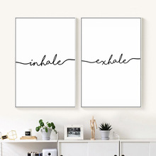 Inhale Exhale Nordic Poster Minimalist Canvas Art Prints Wall Painting Decorative Picture Living Room Decoration Unframed