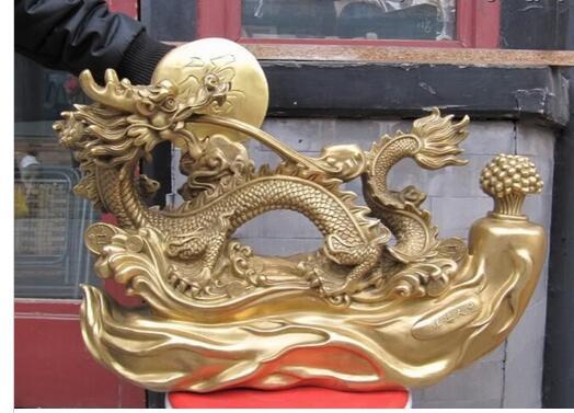 Antique bronze pur cuivre ancien laiton signe laiton cuivre broche eau bénédiction chanceux de bon augure Dragon Statue