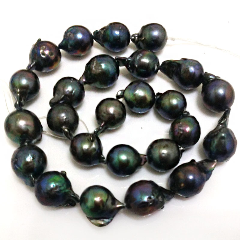 16 inches 14-20mm Black Natural Teardrop Baroque Pearls Loose Strand