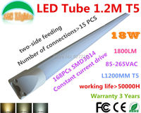 1.2M T5 Integration LED tube 168PCs 3014 18W 1200mm 1800LM Replace the 40w fluorescent lamp,CE RoHS,Two-side feeding,10PCs a Lot