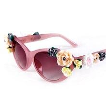 2017 New sunglasses women fashion flower frame cat eye sun glasses for women ladies oculos de sol feminine