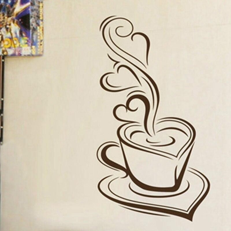 US $4.96 10% OFF|Küche wandaufkleber kaffee Köstlichen kaffee tassen vinyl  wandtattoos, bäckerei cafe shop dekorative wand aufkleber kostenloser ...