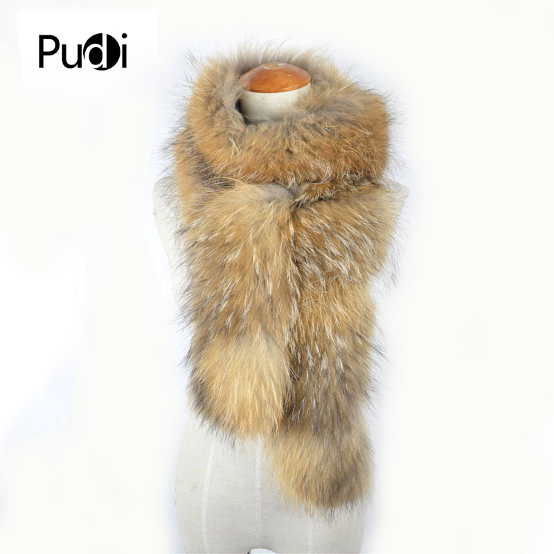 Scf019-1 Real Winter Women Raccoon Fur Scarf Scarves Wrap Neck Warmer Shawl Collar 185cm Modern Design Apparel Accessories