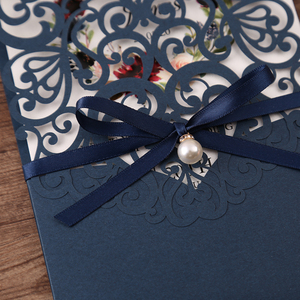 Image 3 - 50pcs Navy blue New Arrival Horizontal Laser Cut Wedding Invitations with RSVP card,pearl ribbon,CW25001B,Customizable
