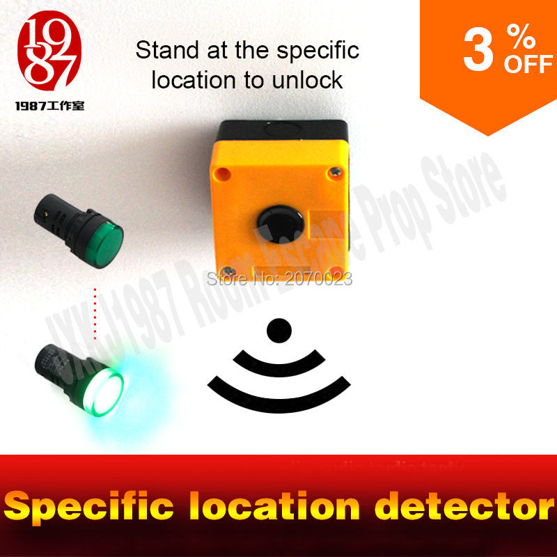 escape room  game props location detector prop stand under certain loation to unlock the door run out chamber mysterious room