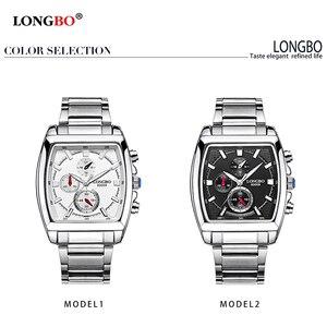 Image 3 - LONGBO mode hommes montre haut marque de luxe cadran carré mâle montre de sport hommes en acier inoxydable montre Relogio Masculino reloj hombre