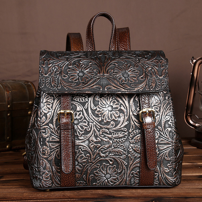 High Quality Women Genuine Leather Backpacks Female Embossed Flower Backpack School Bag Vintage National Travel Bags LS0244 high quality genuine leather women backpacks female embossed flower backpack school bag vintage coffee ladies travel bags l0244
