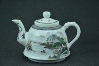 Antique Old Chinese porcelain teapot,pastel glaze,Landscape scenery,Home Decoration,handmade crafts/Collection
