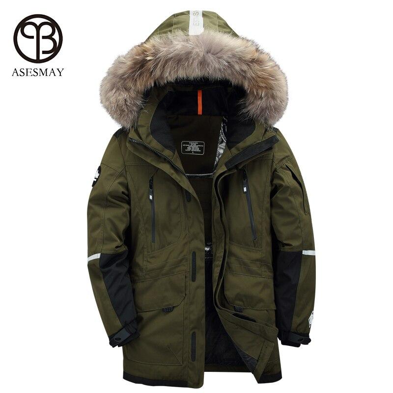 Asesmay marchio di lusso piume d'anatra bianca uomini giù uomini giacca inverno parka di alta qualità mens del cappotto di inverno casuale di spessore oca giacche