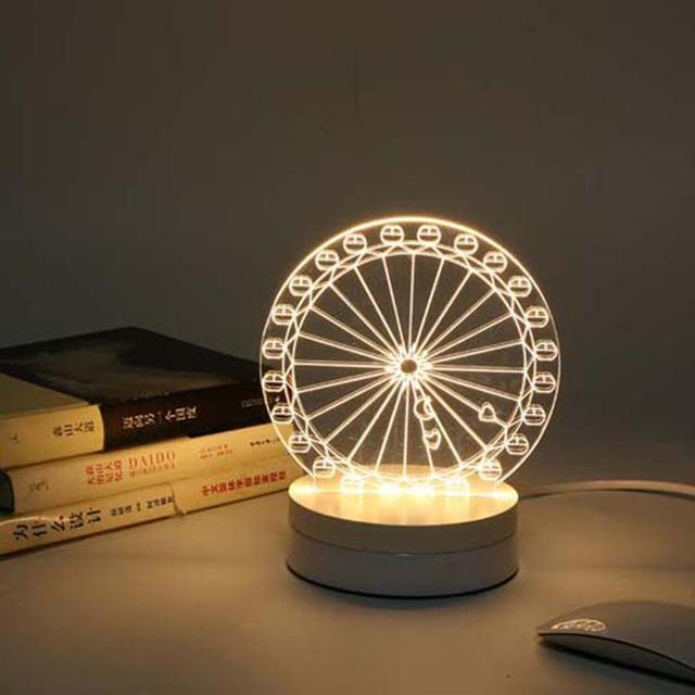 Us plug 3 w unicornio 3d visual niños nightlight de la ilusión óptica led lámpara de escritorio de acrílico luz de la noche