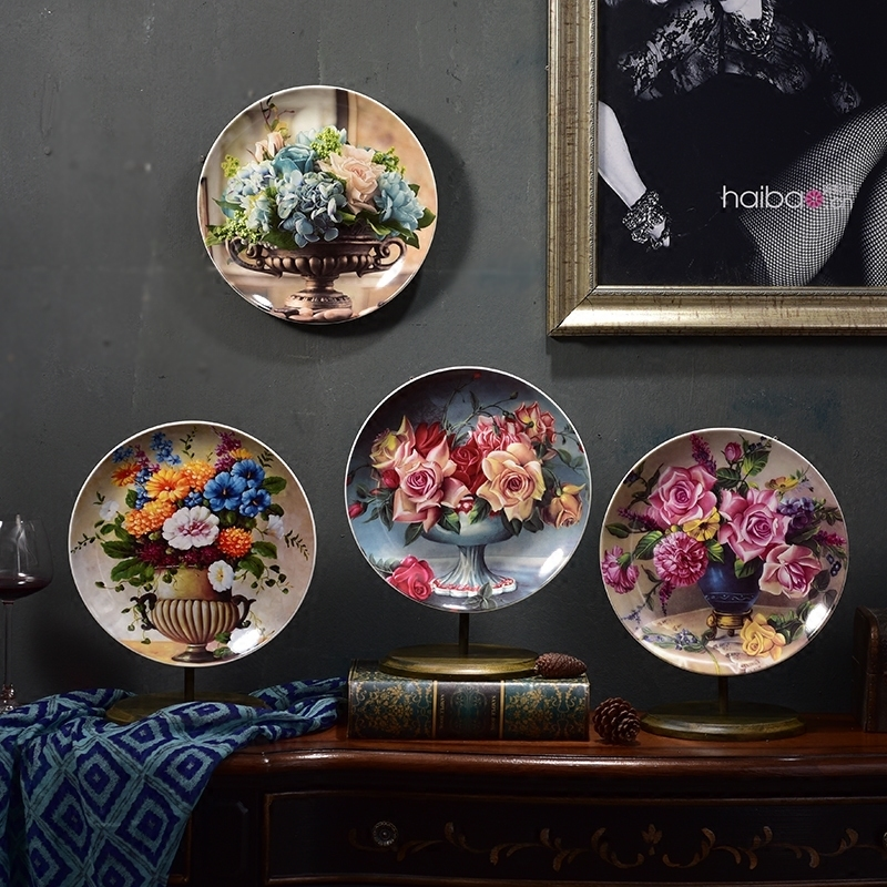 Ceramic Wall Flower Decor: European Palace Luxury Flower Ceramic Plates Wall Sticker