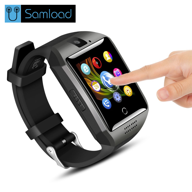 Samload Bluetooth Smart Watch Q18 With Camera Support Facebook Whatsapp Twitter Sync SMS Smartwatch SIM TF Card For IOS Android стоимость
