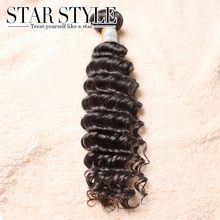 Free shipping soft and full hair bundles 1pcs/lot indian Deep Wave Unprocessed human hair extensions Star Style hair products