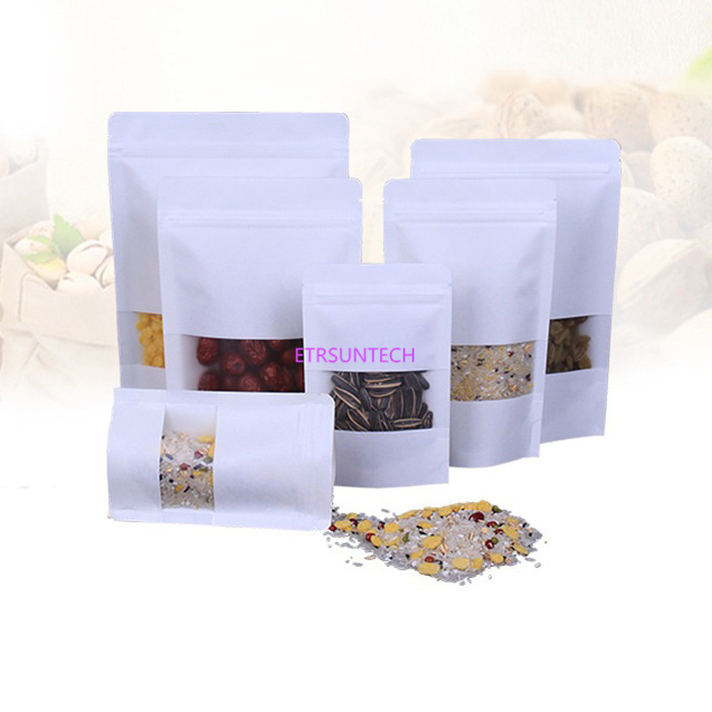 500pcs lot White Stand up Zip Lock Pouches with scrub window Clear display Resealable Kraft Paper