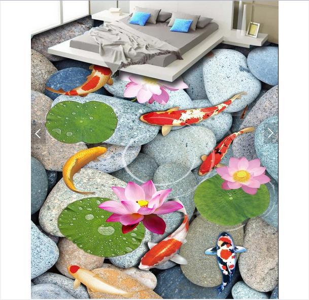ФОТО 3d wallpaper custom 3d floor painting wallpaper murals Lotus carp 3 d bathroom floor living room 3d living room photo wallpaer