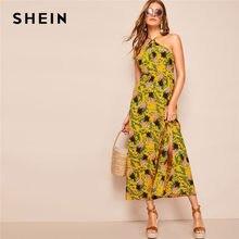 f04372c26 SHEIN Multicolor Boho estampado piña dividir muslo sin espalda Halter Maxi  vestido de verano de las mujeres de cintura alta líne.
