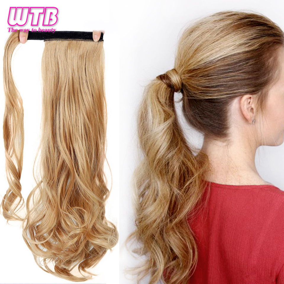 "WTB 22"" Long Wavy Wrap Around Clip In Ponytail Hair Extension Heat Resistant Synthetic Natural Wave Pony Tail Fake Hair 2"