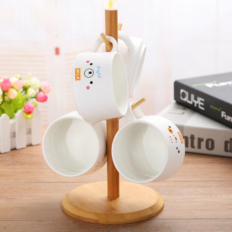 Conjunto xícara de café 200 ML fosco caneca de cerâmica caneca de café jogo de café de presente personalizado 4 copos de presente de rack de madeira