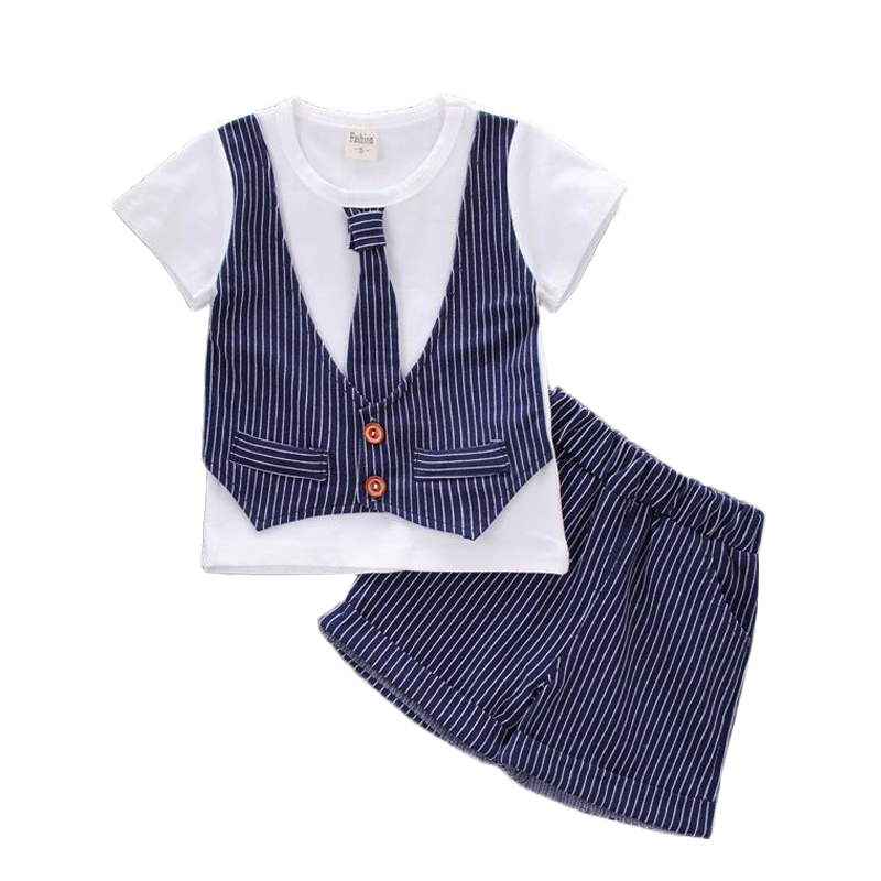 2pcs Boys Gentleman Suits 2017 New Summer Baby Boys Clothes 1 2 3 Years Striped Children Clothing Set Fashion Kids Clothes summer boys handsome gentleman suits 2018 summer new baby boy clothes set 1 3 years striped summer children clothing