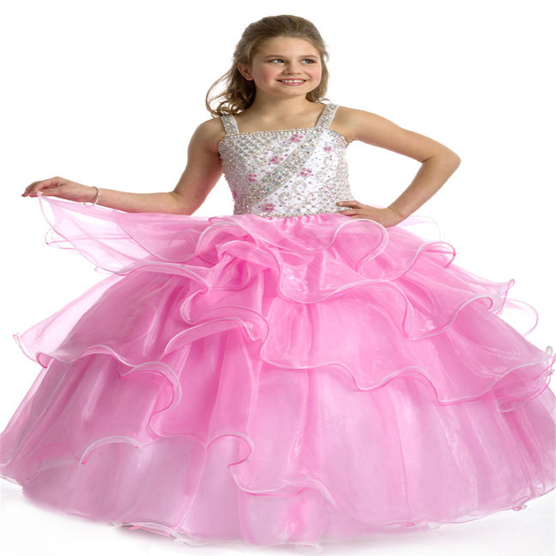 Pink Crystals Little Girls Pageant Dresses Ball Gowns Kids Party ...