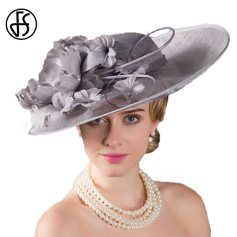 FS Royal Hat For Women Wedding Hats Big Wide Brim Vintage Sinamay Church Hats Ladies Kentucky Derby Sliver Floral Linen Fedora