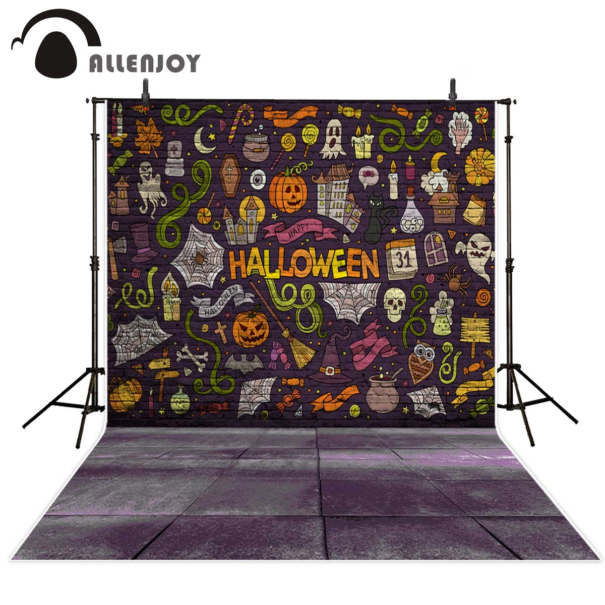 Allenjoy backgrounds for photo studio Brick Wall Pumpkin Wizards Graffiti Halloween backdrop photocall professional customize allenjoy background for photo studio full moon spider black cat pumpkin halloween backdrop newborn original design fantasy props