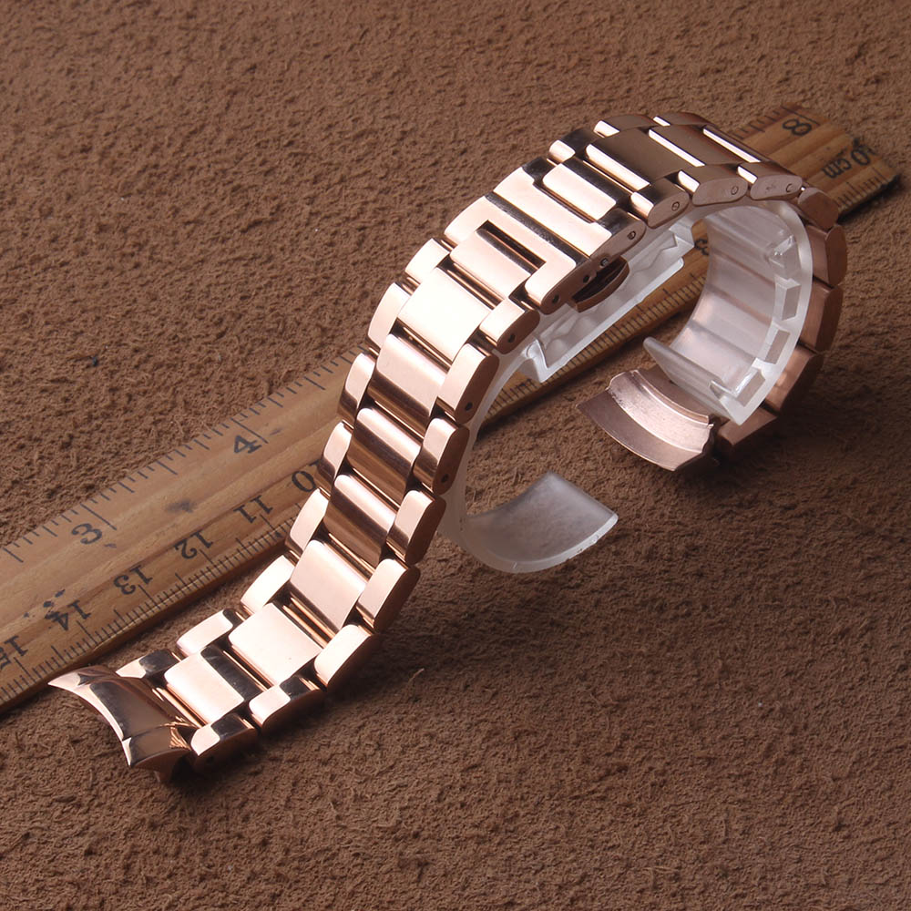 Solid links stainless steel Watchbands Strap curved ends for Samsung Galaxy 42mm Watches Rosegold BAND WIDTH