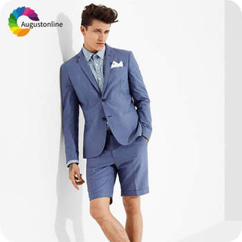 Custom Made Blue Men Short Pants Suits for Weddings Casual Summer Male Blazer Slim Fit Groom Tuxedo 2Piece Jacket Costume Homme