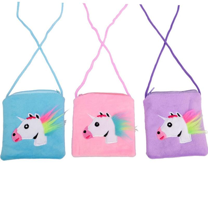 New 4colors Unicorn Kids Shoulder Coin Bag Baby Girls Mini Messenger Bag Cartoon Boys Small Coin Purse Children Handbags
