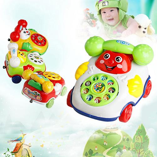 Baby Kids Cute Educational Developmental Cartoon Smile Face Toy Phone Car