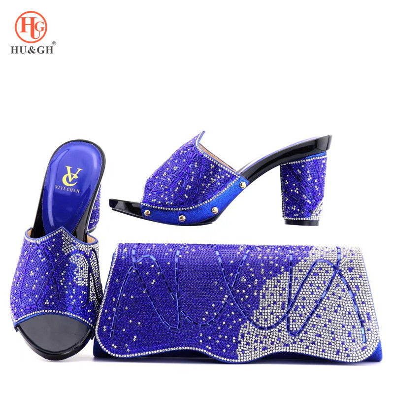 2018 Latest African Blue Shoes And Bag Set Women Heels Matching Purse For Wedding Top Quality Matching Shoes And Bag Set Italian hot artist latest italian high heels shoes and bag set for party african women shoes and matching bag set size 38 43 mm1056