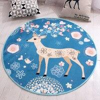 Christmas Cartoon Deer Round Carpet Non Slip Rug Pad Carpets Kids Room Home Decor Floor Round