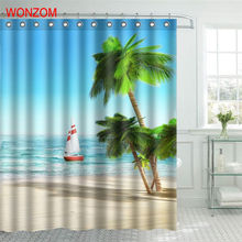 WONZOM Beach Boat Shower Curtain Fabric Bathroom Decor Decoration Cortina De Bano Polyester Coconut Tree Bath With Hooks