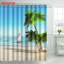 WONZOM Beach Boat Shower Curtain Fabric Bathroom Decor Decoration Cortina De Bano Polyester Coconut Tree Bath Curtain With Hooks window scenery coconut tree shower curtain and rug