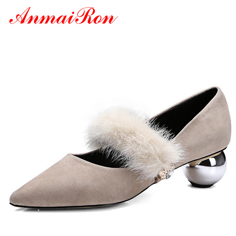ANMAIRON Flock Med Heels Genuine Leather Women Mary Jane Shoes Pointed Toe Spring Autumn Women Pumps Low Heels Office Lady Shoes anmairon women pumps 2018 low heel spring court shoes woman pointed toe pumps med heels silver gold women black giltter shoes