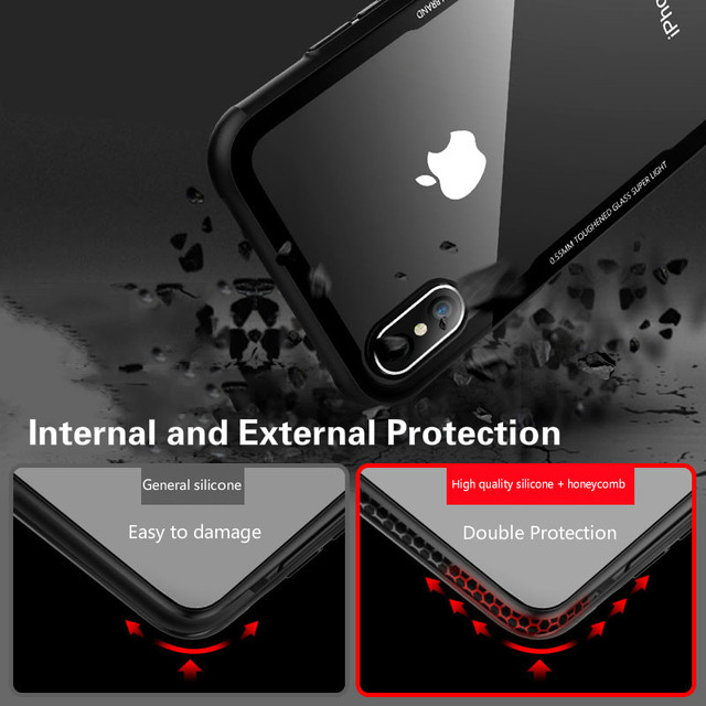 Tempered Glass Case For iPhone 12 12Pro 11 Pro X XR XS Max SE2 High Quality Clear Soft Silicone Glass Cover For iPhone 7 8 Plus 2