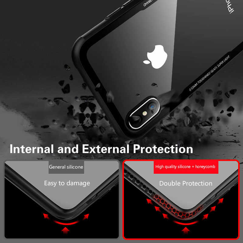 Tempered Glass Case For iPhone 7 8 6 6s Plus High Quality Clear Soft Silicone Glass Cover For iPhone 11 Pro X XR XS Max Cases