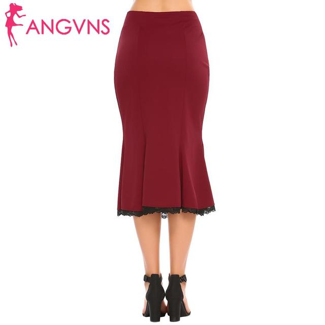 ANGVNS Party Slim Mermaid Pencil Midi Skirt Womens Summer Vintage High Waist Elastic Work Office Women Hip Fishtail Skirt Button 6
