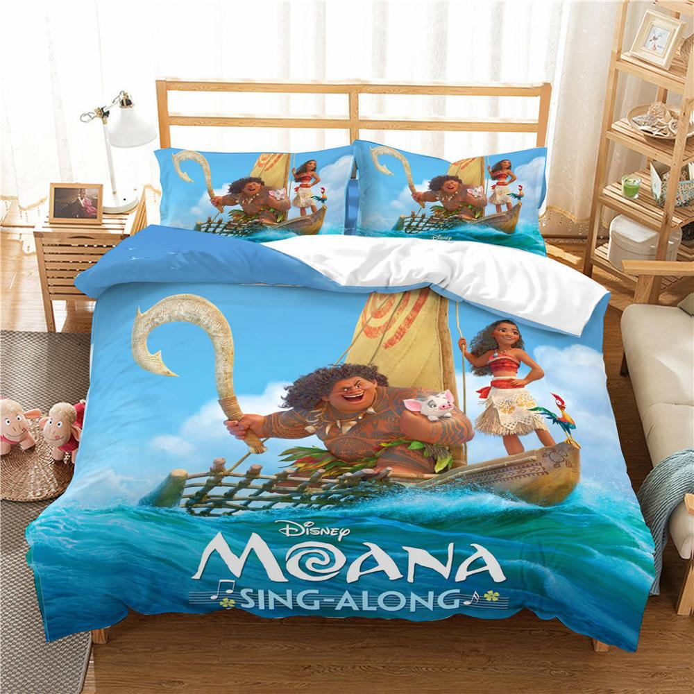 Disney Moana Bedding Set Duvet Cover PillowCase Single Twin King Size Bedroom Decoration Cartoon boy Girls Children Bed Gifts in Bedding Sets from Home Garden