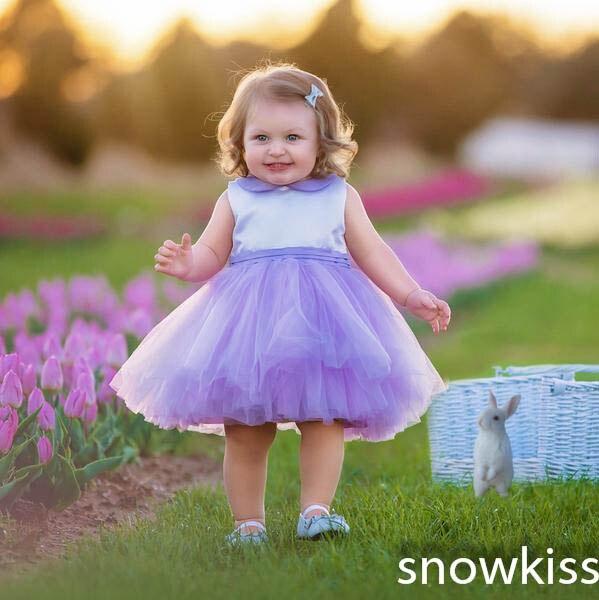 Mignon populaire lavande cravate courte enfants fille anniversaire fleur robe tulle zipper dos mignon papillon princesse robes de reconstitution historique