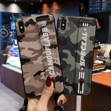Army Camo Camouflage Pattern Case For iphone X XR XS Max Fashion Wrist Strap iPhone 6s 7 8 Plus  Soft TPU Back Cover