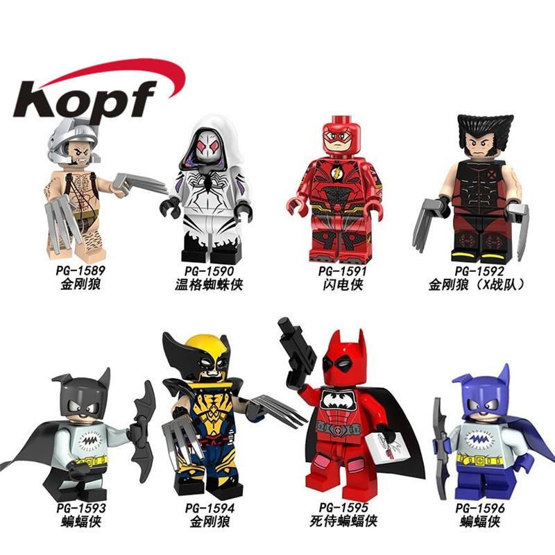 Single Sale Building Blocks Super Heroes Batman Wolverine Gwen Stacy Spider-Man The Flash Deadpool Figures Kids Gift Toys PG8147