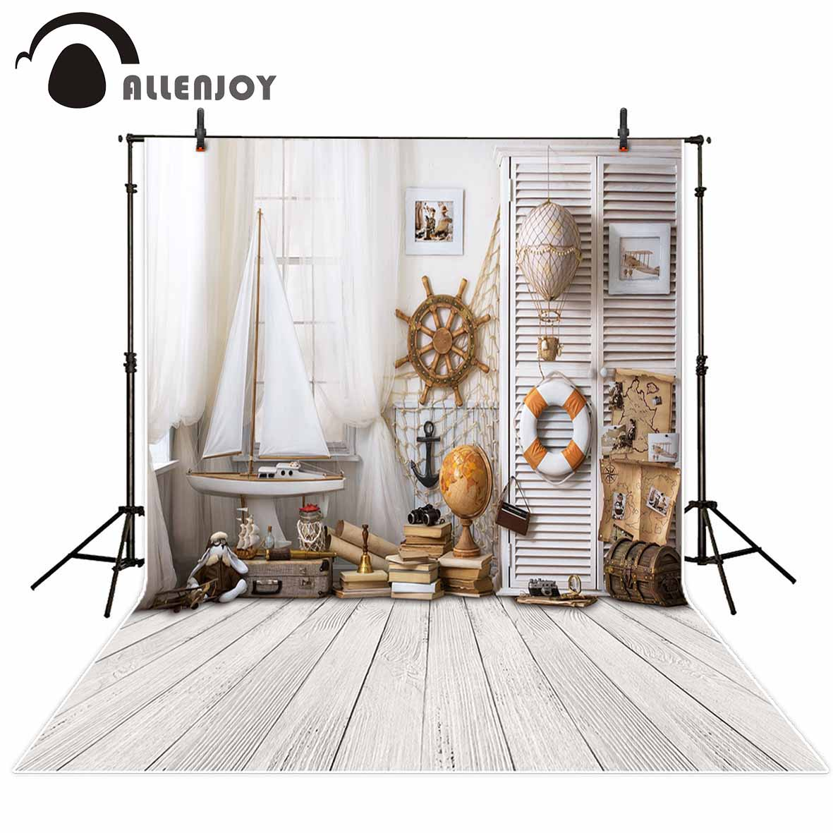 Allenjoy children sailor wood floor indoor photography backdrops curtain boat white planks board backgrounds for photo studio allenjoy photography backdrops love white wood board floor red hearts branches valentine s day wedding photo booth profissional