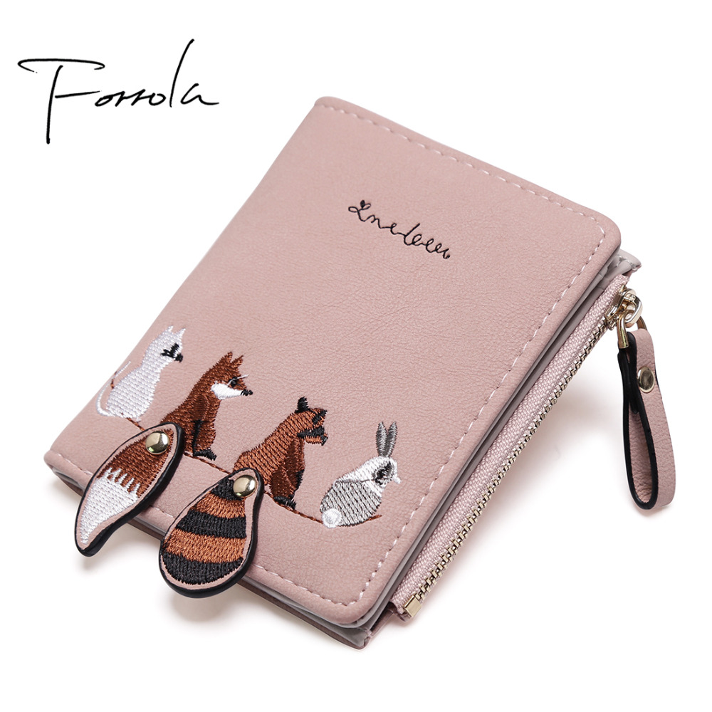 Fashion Women's Wallet Lovely Cartoon Animals Short Leather Female Small Coin Purse Hasp Zipper Kid Purse Card Holder For Girls