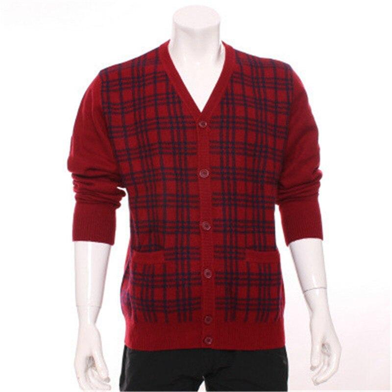 100%goat Cashmere Vneck Thick Knit Men Fashion Plaid Cardigan Sweater H-straight Blue 2color S-2XL