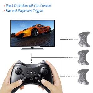 Image 2 - Czarny klasyczny podwójny analogowy bezprzewodowy pilot Bluetooth U Pro kontroler do gier Gamepad do Nintendo na Wii U
