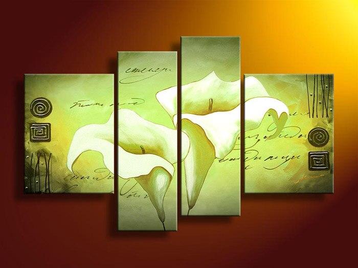 Framed 4 Panel Large 4 Panel Canvas Art Decorative Wall Panels Green ...