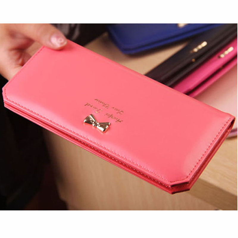 Fashion Famous Brand Leather Women Wallet Solid Bow Female Wallets Ladies' Long Clutches Coin Purse Card Holder Feminina женский пуховик glw404d2011 2015
